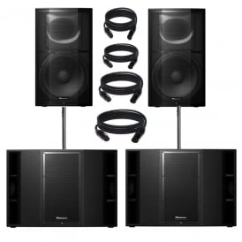 Pioneer XPRS-15 & xprs 215 9600W Active PA Speaker with Powersoft Amplification Bundle