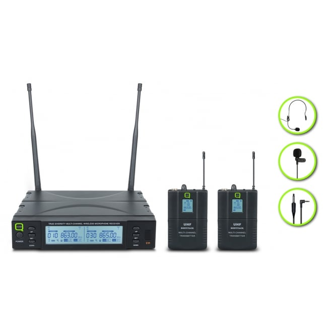 Q-Audio QWM 1960 BP UHF Dual Channel True Diversity Wireless bodypack and mics system