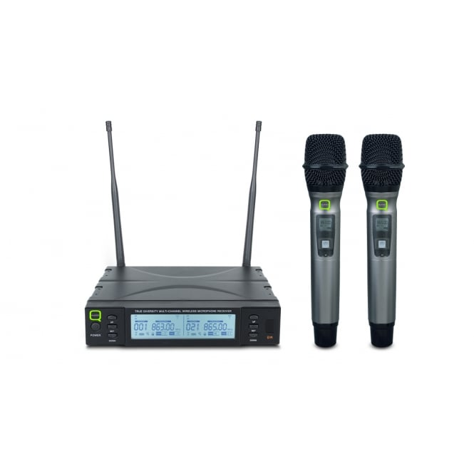 Q-Audio QWM 1960 HH UHF Dual Channel True Diversity Handheld Wireless Microphone System