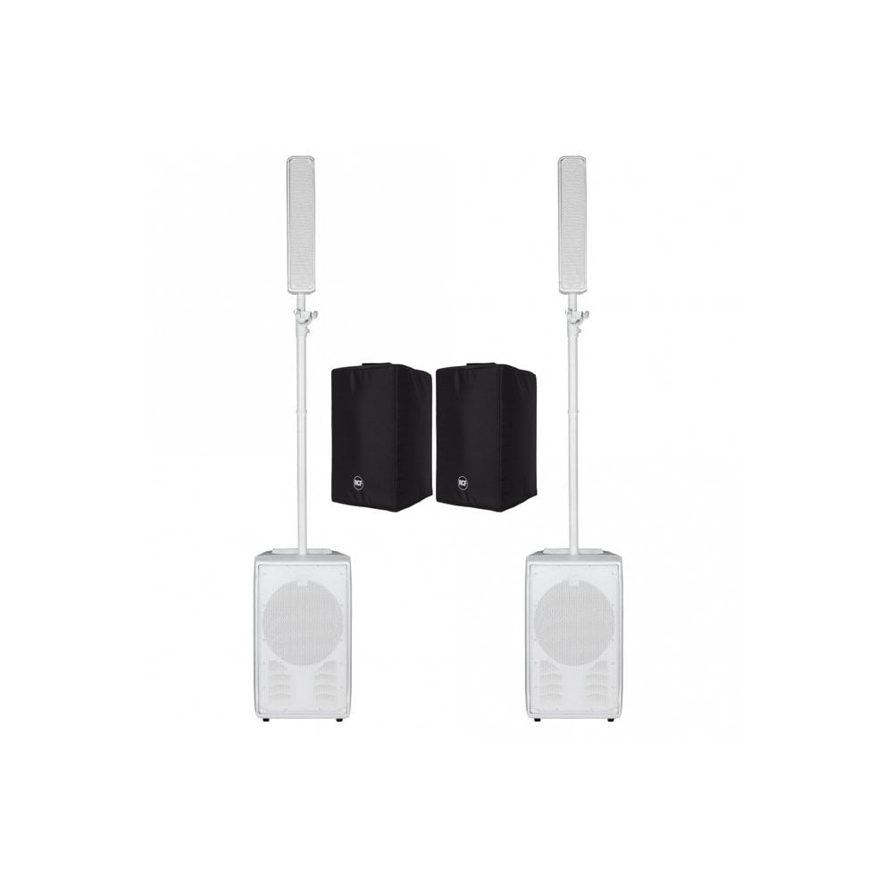 2x RCF EVOX J8 ACTIVE TWO-WAY PORTABLE ARRAY IN WHITE with covers Bundle