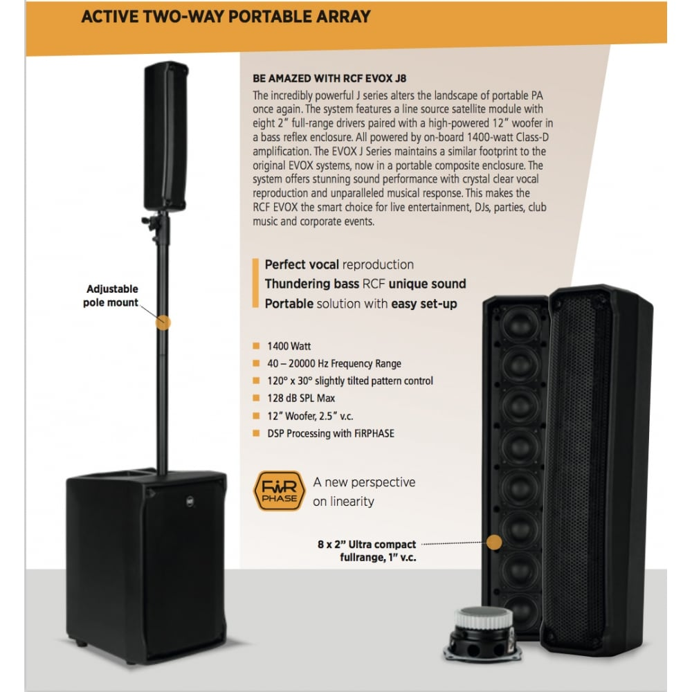 RCF Evox J8 1,400W Active Two-Way Array Speaker