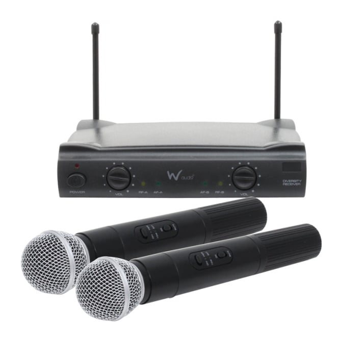 W Audio RM 10 Twin Handheld VHF Radio Microphone System (173.8Mhz/175.0Mhz)