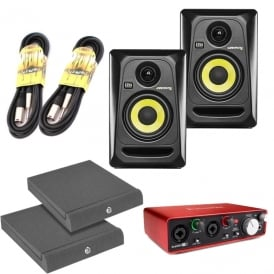 ROKIT 4 G3's, Focusrite Scarlett 2i2 Generation 2, incl ISO Pads & Cables Bundle