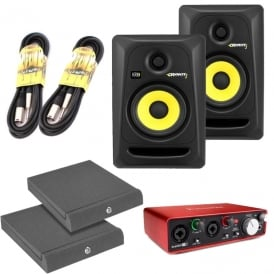 Rokit 5 G3's, Focusrite Scarlett 2i2 Generation 2, incl ISO Pads & Cables Bundle