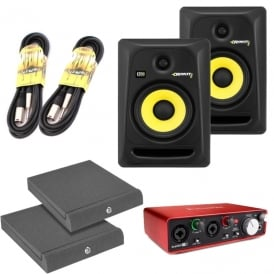 Rokit 6 G3's, Focusrite Scarlett 2i2 Generation 2, incl ISO Pads & Cables Bundle