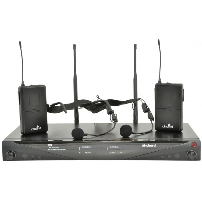 QTX RU2 Dual UHF Microphone System Headbands and Body Packs