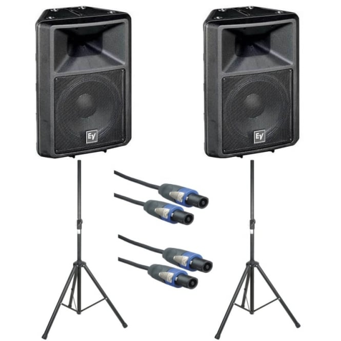 EV Sx300E 12-inch two-way full-range loudspeaker - PAIR WITH SPEAKER STANDS & CABLES