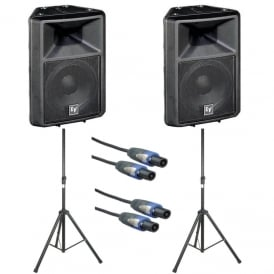 Sx300E 12-inch two-way full-range loudspeaker - PAIR WITH SPEAKER STANDS & CABLES