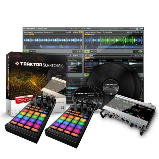 Native Instruments Traktor Scratch Pro 2 A10 Audio Interface Digital vinyl DJ system with Kontrol F1 Pair bundle