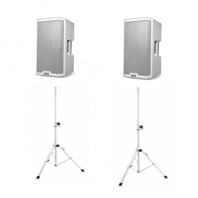 Alto Profesional Audio TS212WH 1100-WATT 12-INCH 2-WAY POWERED LOUDSPEAKER IN WHITE & WHITE STANDS Bundle
