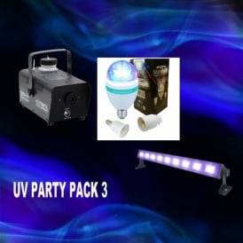 UV PARTY PACK 3 SMOKE MACHINE/LED UV BAR/MOONBULB