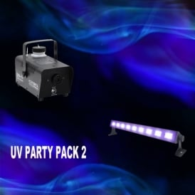 UV Party Package including UV led bar & 400 Watt smoke machine with fluid