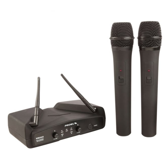 Proel WM202 UHF DUAL Twin Wireless microphone system